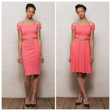 Pastel Pink Off the Shoulder Crop Top and Skirt Set. Choose from Crop Top and Skater Skirt or Crop Top and Pencil Skirt