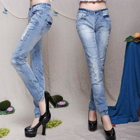 Rinsed Denim Slim Pants Jeans [73422471194]