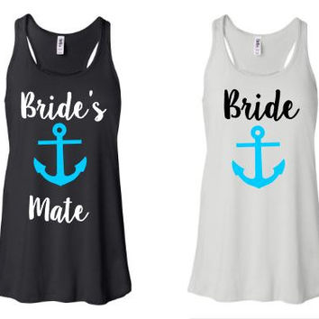 Bachelorette Party Tanks Brides Mate  Bridal Tanks - Anchor - Tanks - Racerback Tank Top - Custom Shirts - Monogram Option - Bride
