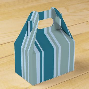 Blue Stripes Pattern Gable Favor Box