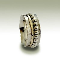 Sterling silver hammered band with silver and gold by artisanlook