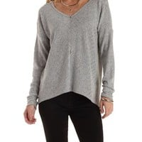 Gray High-Low Long Sleeve Top by Charlotte Russe