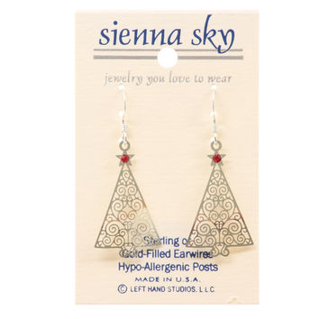 Sienna Sky Filigree Christmas Tree (Ir Plate) W/Red Star Earrings