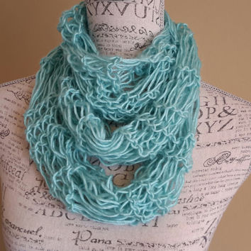knit Infinity scarf. light teal cowl. Made by Bead Gs on ETSY. skinny scarf.