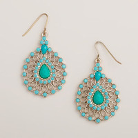 Silver and Turquoise Tonal Teardrop Earrings