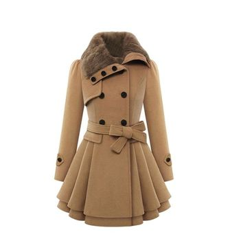 New Fashion HOT Winter Warm Thick Coat Women Double Breasted Faux Fur Collar Wools & Blends 161031 drop Shipping