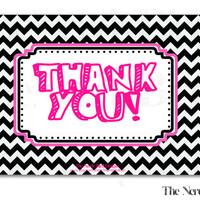 Black and White Chevron Pink Printable Baby Shower Thank You Card