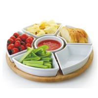 6 Piece White Porcelain Chip and Dip Server with Bamboo Lazy Susan   Overstock.com
