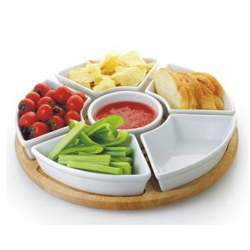 6 Piece White Porcelain Chip and Dip Server with Bamboo Lazy Susan | Overstock.com