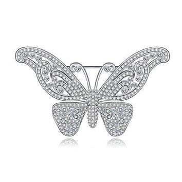 Hanie Silver Tone Butterfly Brooch White Round Crystal Bride Jewellery