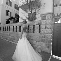 Beautiful wedding dress with opened back