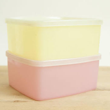 Vintage Pastel Tupperware Square Round Storage Containers Stacking Boxes, Leftover Refrigerator Freezer Containers