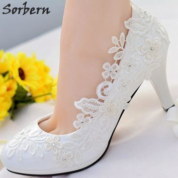 Sorbern White Lace Flower Wedding Shoes Slip On Round Toe Bridal Shoes High Heel Women Pumps Shallow Round Toe 4.5Cm/8Cm