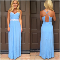 Deserted Island Maxi Dress - Powder Blue