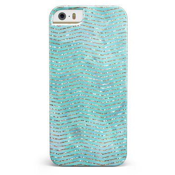 Blue-Green Watercolor and Gold Glitter Chevron iPhone 5/5s or SE INK-Fuzed Case