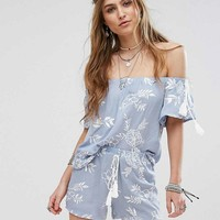 Missguided Embroidered Bardot Top & Shorts With Tassel Detail Co-Ord at asos.com