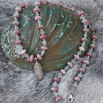 Rhodonite Necklace - Feather Necklace - Crystal Necklace - Pink Beaded Necklace - Gift For Her - Native American Inspired - Mothers Day