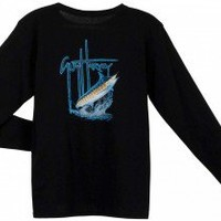Guy Harvey Foursome Back-Print Long Sleeve Ladies Tee with Front Signature in Athletic Heather or Black