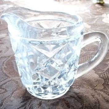 Small Glass Jug, Creamer, Pitcher or Ewer, Vintage, posy, flower, Glassware, Tableware, homeware