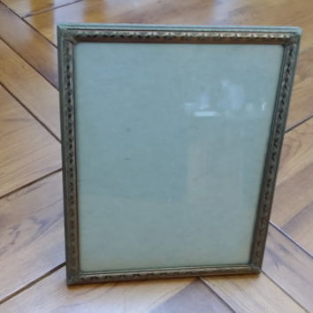 Vintage Brass Ornate Engraved Metal Picture Frame with Velvet Back and Stand
