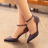 Pointed Toe Ankle Strap High Heels