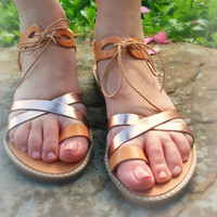 "Genuine Ancient Greek Sandals, Elegant Handmade Leather Sandals With Tan Leather and Gold Straps, ""ZANTE ""Made in Greece"