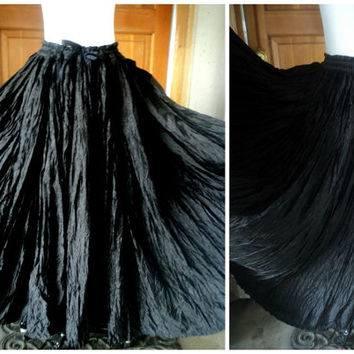 Vintage 90s Broomstick Skirt Black Rayon Hippie Boho Rayon India Full Drawstring Skirt Festival OS