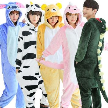 DCCKF4S Autumn spring winter flannel lovers couples women animal pajamas one piece cartoon sleepwear kugurumi cheap adult animal onsies