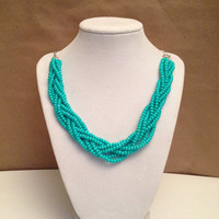 Turquoise Beaded Braid Statement Necklace, Turquoise Beaded Necklace, Chunky Necklace, Braided Necklace, Teal Statement Necklace