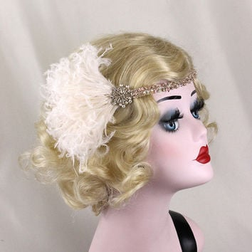 Great Gatsby, Champagne Flapper Headband, Hair Accessory, Swarovski Crystal, Curled Ostrich Feather, Costume Headpiece