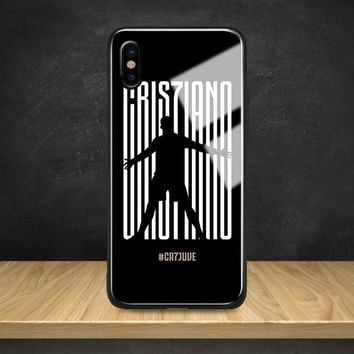2018 Cristiano Ronaldo CR 7 Tempered Glass Soft Silicone Phone Case Shell Cover For Apple iPhone 6 6s 7 8 Plus X XR XS MAX