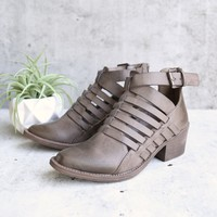 very volatille - mckenna western cut out buckle bootie - taupe