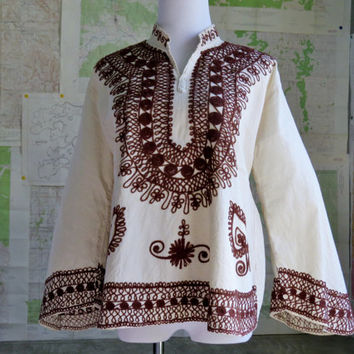 Boho Hippie shirt top Embroidery with Butterfly sleeves and mandarin collar  Natural muslin with Brown Embroidery  Hippie Shirt