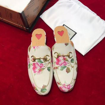 Gucci Princetown Rose Print Leather Slipper #1646