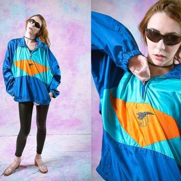 vtg asics 90 39 s windbreaker bright color sport athletic 80s blue orange wind breaker 1990s jacket seapunk tumblr vaporwave aesthetic  number 1