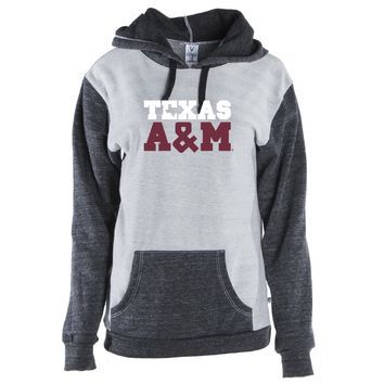 Official NCAA Texas A&M University Aggies- TAMPRD01 Unisex Color Block Kangaroo Pocket Pullover Hoodie
