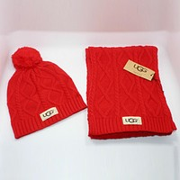"""UGG"" Autumn Winter Classic Popular Women Knit Warmer Hat Cap Scarf Set Red"
