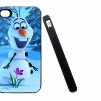 Iphone 5C Case, Thin Flexible Rubber Case Frozen flower Olaf Design (GEU7)
