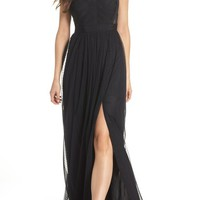 Adrianna Papell Ribbon Bodice Point d'Esprit Gown | Nordstrom