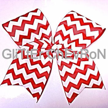 Red Sparkle Chevron Cheer Bow