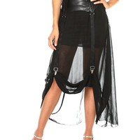 Garter & Suspender Semi-Sheer Maxi Skirt In Black | Thirteen Vintage
