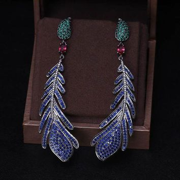 ac spbest Luxury AAA cubic zirconia feather shaped multi colour big drop long earrings ,brilliant fully-jewelled pave setting earrings