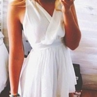 White Spaghetti Strap Cross Wrap V Neck Loose Pleated Short Romper