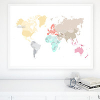 "40x30"" Printable world map, diy travel pinboard map, pastels world map, pastel wall art, nursery map, pastels nursery - map026 A01"