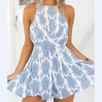 Summer Sexy Sling Printing Backless Dress