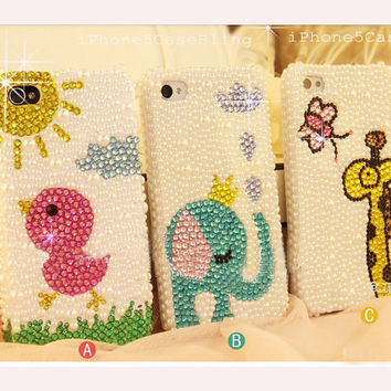 iPhone 4 Case, iPhone 4s Case, iPhone 5 Case, Elephant iphone case, iPhone 5 bling case, Bling iPhone 4 case,  Cute iPhone 4 case, chick
