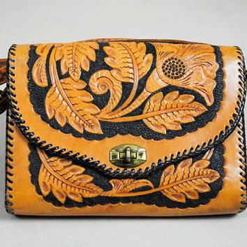 vtg 50's LEATHER hand tooled Poppy floral convertible rare Two-tone CLUTCH PURSE Ethnic Woven Cross Body Hippie bohemian