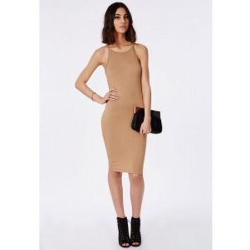 Missguided - 90's High Neck Midi Dress Camel