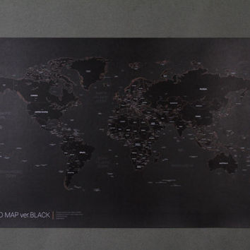 New Black World Map Poster