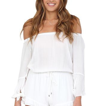 White Off The Shoulder Romper at Blush Boutique Miami - ShopBlush.com : Blush Boutique Miami – ShopBlush.com